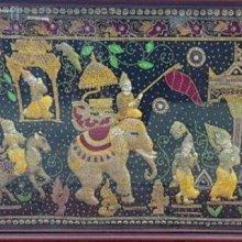 【二手倉庫-崇德店】二手家具*C05泰國手工珠繡裝飾畫(Ramakien拉瑪堅神話)東南亞創意珠繡 客廳餐廳掛畫