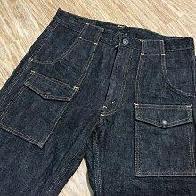 保證真品近全新日本製THE REAL Mccoys 959BK WORK BUSH PANTS黑色厚磅凹凸紋丹寧褲養褲