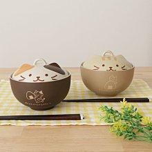 食器 ◎ 日本Hapins 貓咪陶瓷蓋碗 微波煮飯