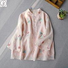 2021春季新款七分喇叭袖彩線刺繡襯衫春夏新品上衣森系女裝中國風