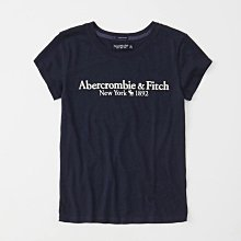 Maple麋鹿小舖 Abercrombie&Fitch * AF 深藍色電繡字母麋鹿短T* ( 現貨M號 )