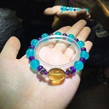 A+ 黃水晶清透不規則主珠+6mm紫晶+10mm冰種天河石