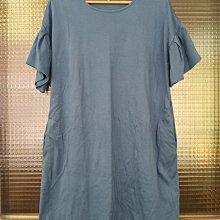 日本品牌 Global Work 灰藍色圓領棉質波浪袖洋裝