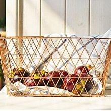 鄉村雜貨小市集*zakka 附小鳥吊飾玫瑰金編織鐵線籃收納籃筐