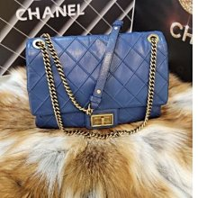 Chanel 經典寶藍色鞣牛皮金鏈金釦2.55包