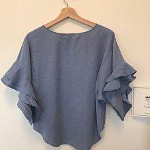 全新 正韓 韓國製 佛朗明哥荷葉寬袖天空藍上衣 蜜桃絲感材質 不挑身材