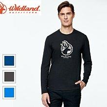 丹大戶外【Wildland】荒野 男彈性LOGO印花抗UV長袖上衣 0A91616 四色│長袖T恤