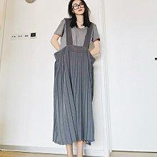 新品搶先看-高級感 小眾設計 學院風 超大腰圍設計 百褶裙 絲質斜紋 高腰 大象灰 背帶 /吊帶裙