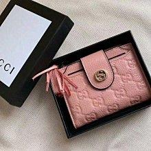 九折出清/全新Gucci 粉色全皮革壓紋證件照片多功能夾