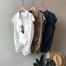 夏質感百搭無袖上衣 雙口袋落肩反褶蝙蝠袖短袖襯衫 艾爾莎【TAE8423】
