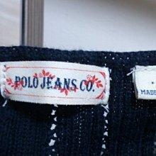 POLO JEANS CO.深藍色針織衫 一字領