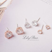 LilyStar.皇冠閃鑽六件式單鑽耳環 【IL18110】