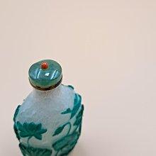 清  晚期 白地綠花 套料 鼻煙壺  玻璃