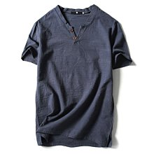 大匯倉=M-5XL男士短袖T恤中國風棉麻V領體恤大碼潮流爆款男上衣亞麻半袖薄