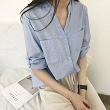 現貨 韓製 V領 口袋設計 棉質襯衫 chic ☆ Z7118