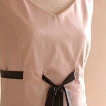 【個人出清】(Pinkoi紅兔番茄)顯瘦高腰緞帶洋裝-豆沙色