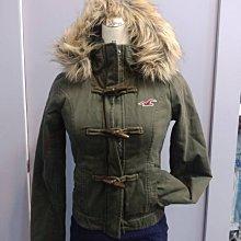 (雅峰精品)Hollister藏青綠色牛角釦連帽保暖外套XS號