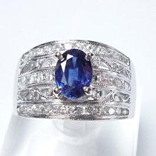 【連漢精品交流中心】《天然藍寶石 1.07CT 》14白K金設計款奢華 藍寶石鑽戒