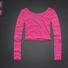美國Hollister女裝jack creek tshirt dark pink cropped slim fit M號粉色窄版挖背性感合身長袖T含運