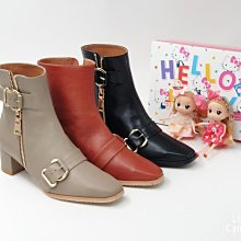 ♀️女:MIT精品真皮手工-金屬大方扣方楦全真皮粗厚跟短靴、粗高跟短靴、真皮踝靴、金屬扣皮靴、小方楦皮靴、台灣手工真皮靴