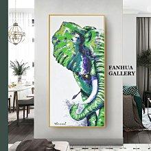 C - R - A - Z - Y - T - O - W - N 原創純手繪油畫立體筆觸吉祥招財綠色大象抽象輕奢金色裝飾畫玄關巨幅抽象油畫長款抽象藝術手繪油畫