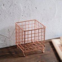 鄉村雜貨小市集*zakka 玫瑰金鐵製正方形直式收納筒置物鐵籃