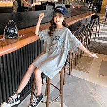 小圖藤童裝~~~中大童~~~女童洋裝夏装2021新款收腰A字裙夏季短袖T恤裙子(A2620)