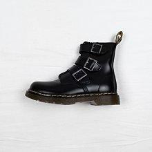 Dr.Martens 經典款 馬汀靴 黑色 硬皮 三扣帶 短筒 女鞋
