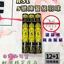 【綠色大地】台灣公司貨 RSL 5號練習級羽球 NO.5 耐用穩定度高 12+1顆 練習球 羽毛球 羽球 台版