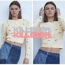 KillBeer:小姊姊等等我之 歐美復古法式優雅氣質重工立體碎花刺繡簍空米白彈力短版針織外套上衣A072302