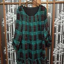 秋季洋裝 長袖 綠格子 經典格紋 雪紡洋裝