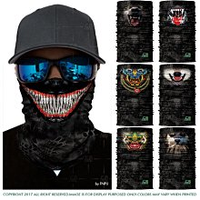 有一間店-黑色蟒紋迷彩印花3D頭巾 毒液吸血鬼動物劍齒虎面罩 戶外防曬頭套