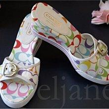 Coach Poppy Sandal Shoes 彩色 塗鴉 楔型鞋高跟鞋人字夾角涼鞋厚底鞋涼鞋 免運費 9號 26號