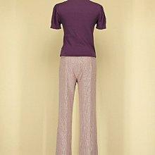 貞新 韓 紫色圓領短袖假兩件緞面棉質上衣F號+youths&maidens 粉紅格紋棉質長褲 M號(41818)