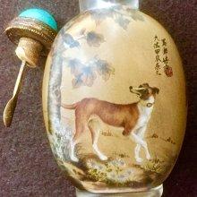 【小小的】~ 清代 老件 ~【珍品】鼻煙壺 玻璃 內畫 樂三 寫郎世寧
