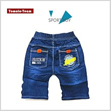 《蕃茄丁》125~165CM//背後口袋小皮標圖案 ‧ 中刷白牛仔短褲(藍色)【DC】//中大童
