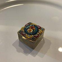 早期收藏 義大利精緻馬賽克鑲嵌金絲金色小寶盒