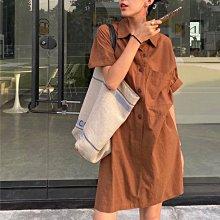 Black Market 夏季新品實拍 簡約休閒綁帶棉麻中長版襯衫式洋裝連身裙 (預購)