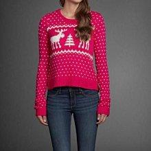 美國Abercrombie & Fitch 女裝GEMMA SWEATER L號甜美粉色麋鹿圖案超柔長袖毛衣含運在台