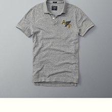 Maple麋鹿小舖 Abercrombie&Fitch * AF 灰色電繡圖樣字母POLO衫*( 現貨L號 )