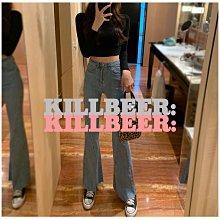 KillBeer:經就是不會被換之 韓國代購復古氣質純色水洗做舊丹寧立體剪裁彈力喇叭褲長褲032209