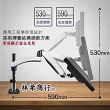 電視架 電腦螢幕 螢幕架 壁掛架 多角度 360度 多向可調 人體工學 隨拉隨停 機械彈簧 夾桌 雙臂 免鑽孔 桌上型