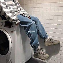 貓兒空空 FACTION 潮牌寬松直筒牛仔褲男生休閒淺色系學生闊腿墜感束腳褲子