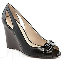 Coach Wedge Shoes 黑色真皮楔型鞋 高跟鞋 包鞋 魚口鞋 鞋盒裝 6號 23 免運費 iCoachBag
