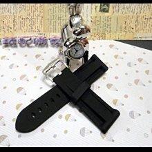 手錶配備家~26mm 24mm 22mm 經典直紋PU膠錶帶 搭配不鏽鋼寬錶扣 可替代沛納海 漢米爾頓 等