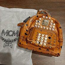 禮物限量 MCM 韓國買回 正品 BACKPACK 可拆卸背帶 鉚釘包 雙肩包 背包 super mini號 米色/茶色各一 限時出清