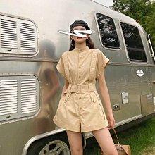 連體裙褲 2021年新款夏季法式設計感小眾繫帶收腰顯瘦時尚炸街工裝連衣褲女 免運