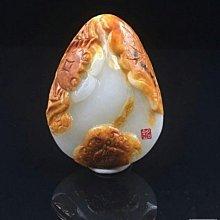 極品白玉帶皮灑金俏色巧雕 和闐玉 山流水 河蟹(和諧)/螃蟹(八方來財)項鍊  蘿蔔絲紋 密度細度極好