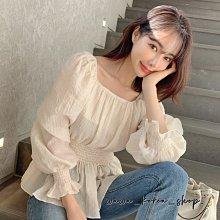 正韓:腰部鬆緊設計上衣(2色)