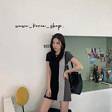 正韓:長版短袖3色拼接洋裝